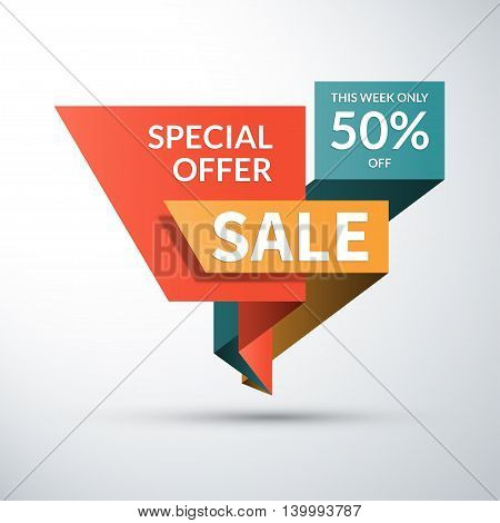 Sale banner. Special offer label. 50 percent off vector background. Half price colorful sticker. Shopping badge