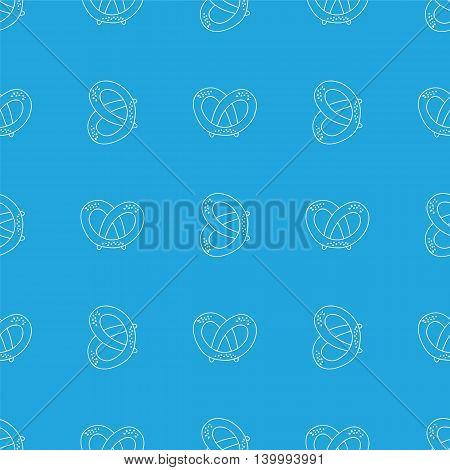 German pretzels seamless pattern on white background. Oktoberfest concept. Sketchy hand drawn doodle.