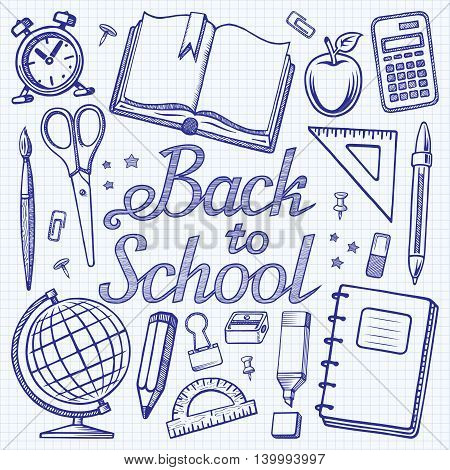 Back to school. Hand drawn lettering with the set of doodle icons of school supplies on squared paper background. Vector illustration