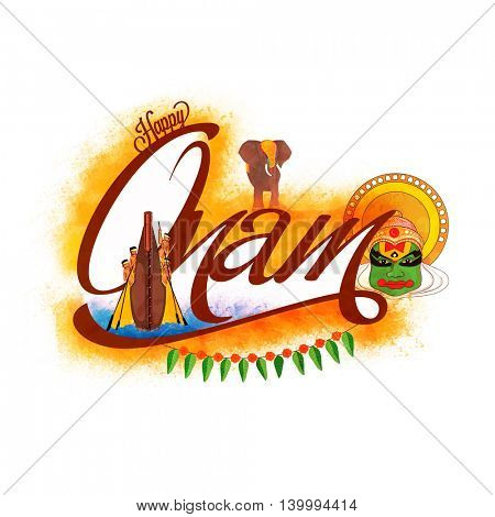 Creative Text Onam with illustration of boat race, elephant and kathakali dancer face on color splash background, Elegant Greeting Card design for South Indian Festival celebration.