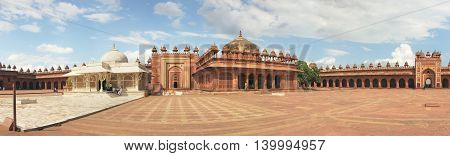 Fatehpur Sikri, India, november 17, 2011: Panorama with high resolution of Tomb of Salim Chishti. Buland Gate, Dadupura, Fatehpur Sikri. Attractions India, vintage old palace.