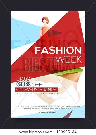 Fashion Sale Poster, Sale Banner, Sale Flyer, Limited Time Sale, Upto 60% off on every brands, Fashion Week design template with illustration of young modern girl, Creative vector illustration.