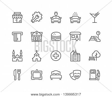 Simple Points of Interest Related Vector Line Icons. Contains such Icons as Food, Park, Museum, Hotel, Hostel, Bus Stop, Railway Station and more. Editable Stroke. 48x48 Pixel Perfect.