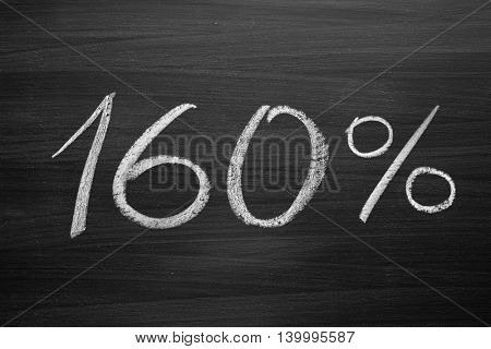 160 percent header written with a chalk on the blackboard