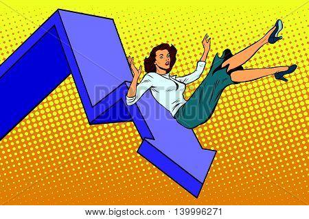 Business woman financial collapse pop art retro vector illustration