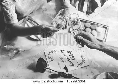Couple Anniversary Wine Celebration Concept