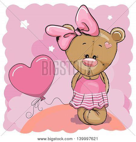 Greeting card Cute Teddy Bear girl with balloon