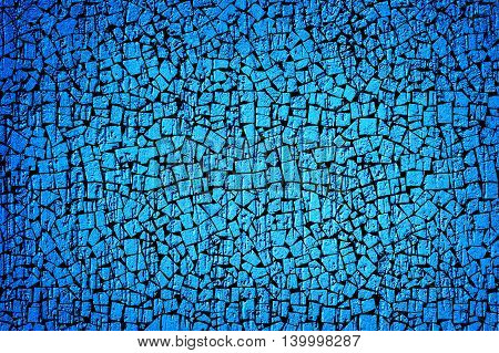 Cyan Plaster Wall In Form Of Raindrops Vignetting Texture Black Tiles Styled