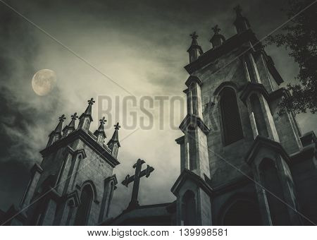 Gothic Style Episcopal Church With Full Moon