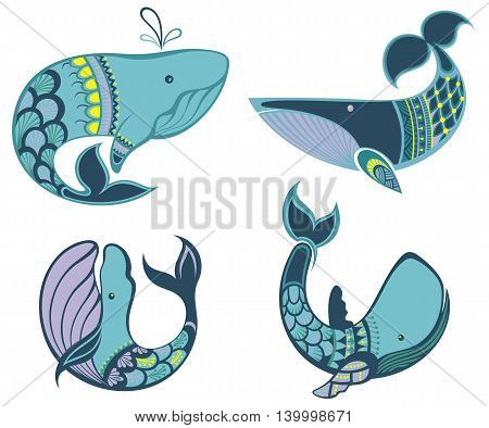 Collection of vector whale icons and illustrations. Whale symbols