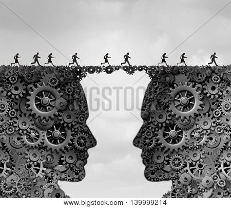 Business industry bridge as a group of people running across a link made of gears and cogwheels shaped as a head as a success metaphor for technology solutions with 3D illustration elements.