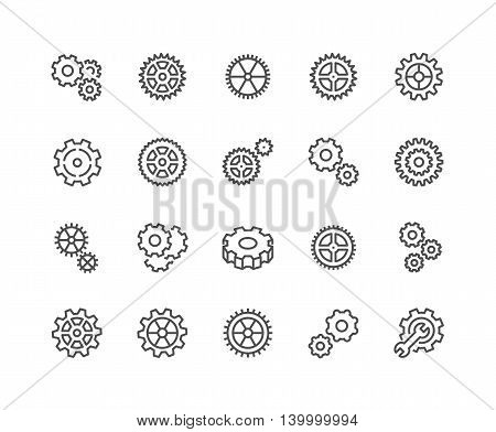 Simple Set of Gear Related Vector Line Icons. Contains such Icons as Settings, Transmission, Gearwheel and more. Editable Stroke. 48x48 Pixel Perfect.