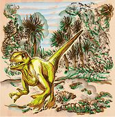 Velociraptor. DINOSAURS - Life in the prehistoric time. Freehand sketching line drawing. An hand drawn vector illustration. Colored background is isolated. Colored line art. Vector is easy editable. poster