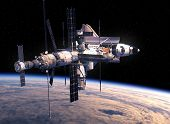 Space Shuttle And Space Station Orbiting Earth. 3D Illustration. poster