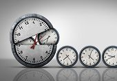 Making time and multitasking concept as a symbol for increase of business efficiency and working hours or busy growing work schedule management as an open clock releasing smaller clocks as a 3D illustration. poster