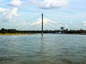 High dynamic range HDR Duesseldorf panorama with river Rhein (Rhine) Germany poster