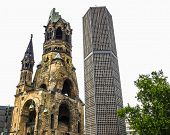 High dynamic range HDR Ruins of Kaiser Wilhelm Memorial Church in Berlin destroyed by Allied bombing and preserved as memorial poster