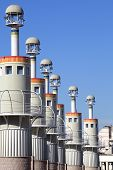 Towers in Espanya Industrial Park Barcelona Spain. poster