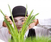 crazy  gardener mime. Studio isolated shot poster