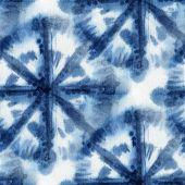 Seamless tie-dye pattern with circles of indigo color on white silk. Hand painting fabrics - nodular batik. Shibori dyeing. poster