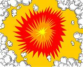Comic book vector background of an explosion poster