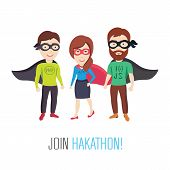 Conceptual Vector Illustrations of a Group of Computer Specialists as Heroes poster