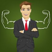 Young man teacher, salesman or businessman with chalk healthy strong arm muscles for success poster