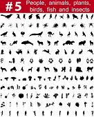 Set # 5. Big collection of collage vector silhouettes of people, animals, birds, fish, flowers and insects poster