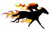 Horse silhouette with flame tongues. poster