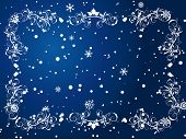 Victorian winter frame background with snowflakes elements poster