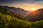 Sunset at the Newfound Gap in the Great Smoky Mountains. poster