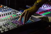 Audio mixer mixing board fader and knobs with selective focus on buttons Music mixing console with backlit buttons poster