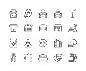 Simple Points of Interest Related Vector Line Icons. Contains such Icons as Food, Park, Museum, Hotel, Hostel, Bus Stop, Railway Station and more. Editable Stroke. 48x48 Pixel Perfect. poster