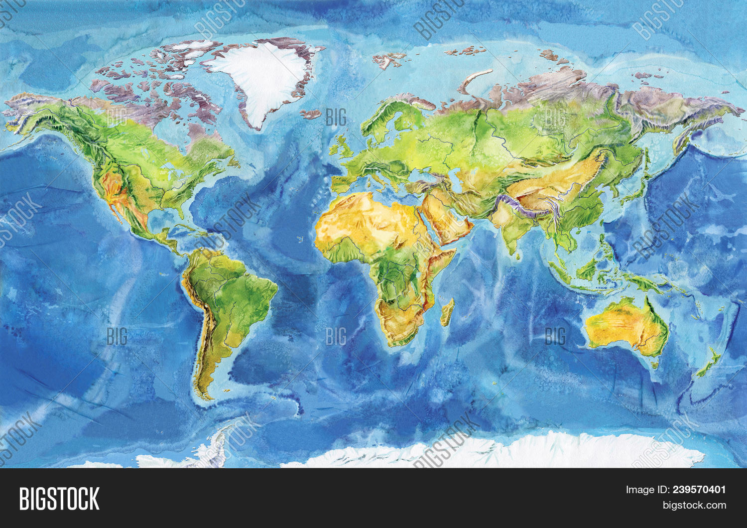 Physical Map Of Europe And Asia.Watercolor Image Photo Free Trial Bigstock
