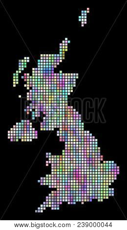 Dot United Kingdom Map. Vector Geographic Map In Smoothed Arbitrary Colors On A Black Background. Ve