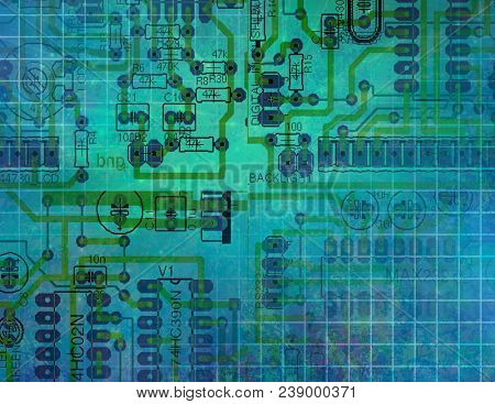 Printed Circuit Technology. 3D rendering