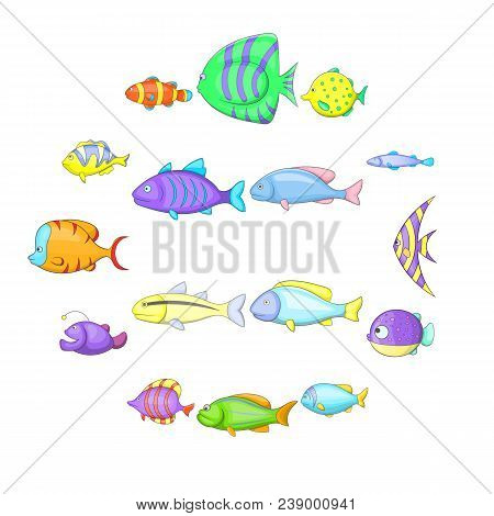 Different Fish Icons Set. Cartoon Illustration Of 16 Different Fish Vector Icons For Web