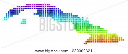 Dotted Cuba Map. Vector Geographic Plan Using Bright Spectrum Color Tinges With Vertical Gradient. C