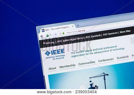 Ryazan, Russia - April 29, 2018: Homepage Of Ieee Website On The Display Of Pc, Url - Ieee.org.