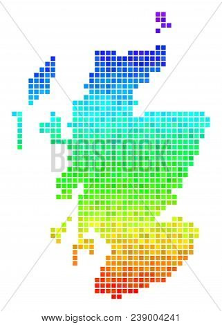 Dot Scotland Map. Vector Territorial Scheme Using Bright Rainbow Color Hues With Vertical Gradient.