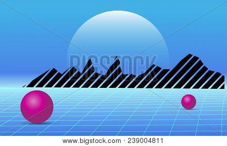 80s Retro Future Background. Vector Futuristic Synth Retro Wave Illustration In 1980s Posters Style.