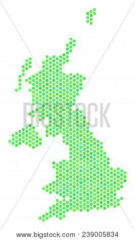 Green United Kingdom Map. Vector Hex-tile Geographic Map Using Fresh Green Color Tones. Abstract Uni