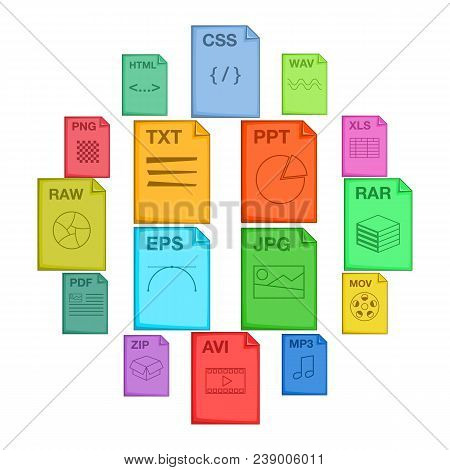File Extension Icons Set. Cartoon Illustration Of 16 File Extension Vector Icons For Web