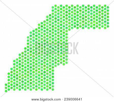 Eco Green Western Sahara Map. Vector Honeycomb Territory Map Using Fresh Green Color Tones. Abstract