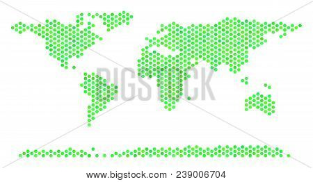 Green World Continent Map. Vector Hex-tile Territorial Map In Green Color Shades. Abstract World Con