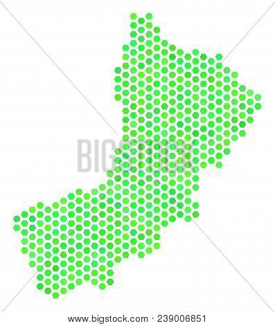 Eco Green Yemen Map. Vector Hexagon Territorial Plan In Fresh Green Color Tinges. Abstract Yemen Map