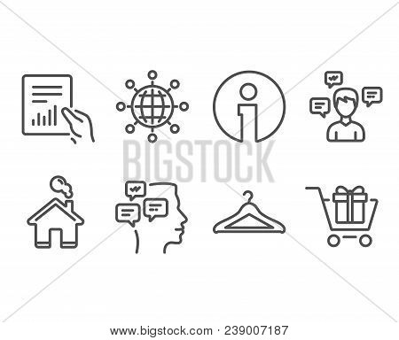 Set Of Messages, Document And International Globe Icons. Conversation Messages, Cloakroom And Shoppi
