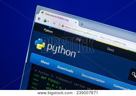 Ryazan, Russia - April 29, 2018: Homepage Of Python Website On The Display Of Pc, Url - Python.org.