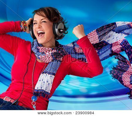 powerful girl listening to good music