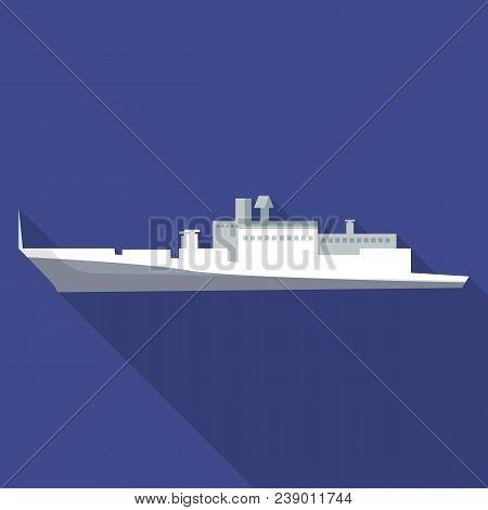 Cargo Passenger Ship Icon. Flat Illustration Of Cargo Passenger Ship Vector Icon For Web Design